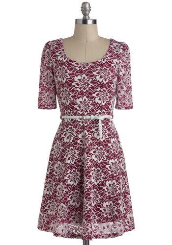 Winterberry Wonderland Dress - Purple, White, Floral, Belted, Casual, A-line, Short Sleeves, Short, Lace, Party