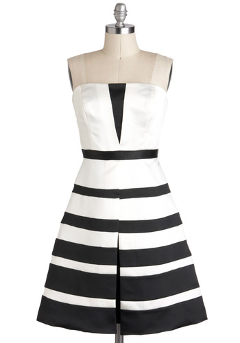 Call It a Black Tie Dress by Max and Cleo - Black, White, Stripes, Cocktail, Fit & Flare, Strapless, Party, Luxe, Mid-length, Prom