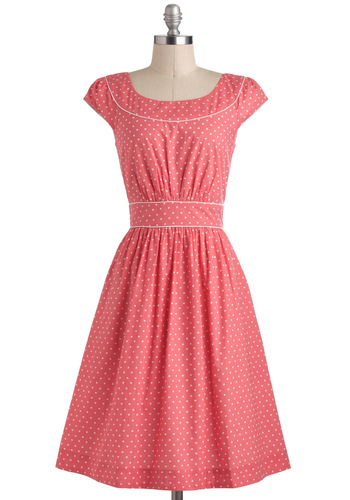 Day after Day Dress in Hearts by Emily and Fin - Pink, White, Casual, A-line, Cap Sleeves, Spring, International Designer, Cotton, Long, Novelty Print, Variation