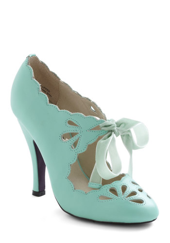 Dainty Dramatist Heel in Mint - Green, Solid, Cutout, Scallops, High, Leather, Wedding, Party, Vintage Inspired, Mint, Variation, Special Occasion, Spring