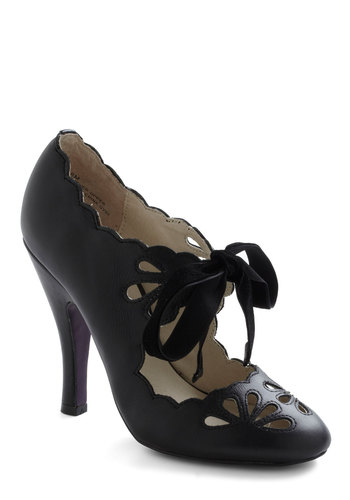 Dainty Dramatist Heel in Noir - Black, Solid, Cutout, Scallops, High, Leather, Party, Vintage Inspired, Pinup