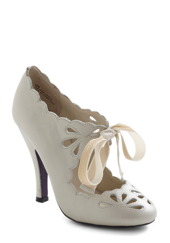 Dainty Dramatist Heel in Cream - Cream, Solid, Cutout, Scallops, High, Leather, Wedding, Party, Vintage Inspired