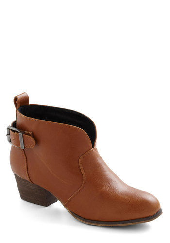 Flight Cru Bootie in Whiskey by Chelsea Crew - Tan, Solid, Buckles, Low, Leather, Variation