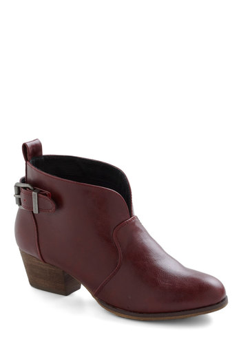 Flight Cru Bootie in Wine by Chelsea Crew - Red, Solid, Buckles, Low, Leather, Variation