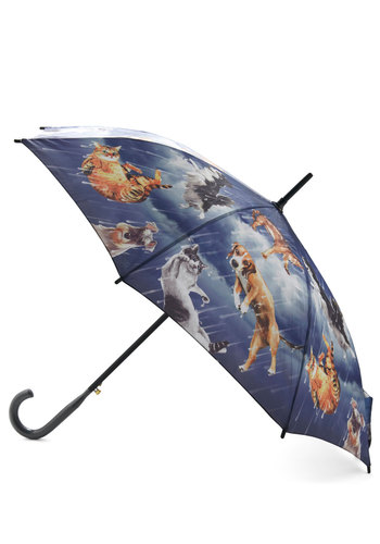 Fur Weather Friend Umbrella - Blue, Multi, Print with Animals