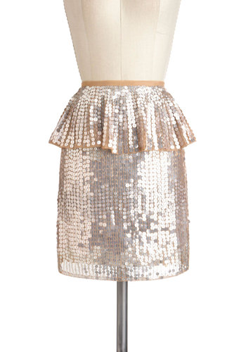Disco Ballroom Skirt - Pink, Solid, Sequins, Party, Peplum, Mid-length, Holiday Party, Statement