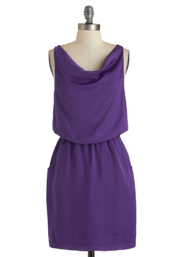 Grapes of Rad Dress - Mid-length, Purple, Solid, Pockets, Belted, Party, Minimal, Sleeveless