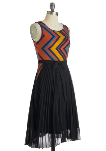 Dramatic Side Dress - Long, Orange, Black, Multi, Print, Pleats, Belted, Party, Sleeveless, Chevron