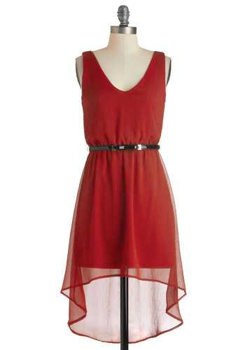 Bold as Lovely Dress - Solid, High-Low Hem, Tank top (2 thick straps), Short, Red, Belted, Party