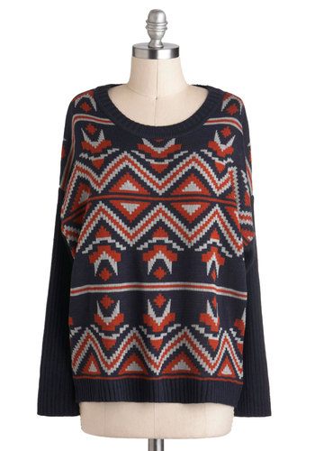 Anthropology Major Sweater - Blue, Orange, White, Knitted, Long Sleeve, Mid-length, Winter