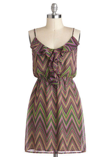 Mic Checker Dress - Print, Ruffles, Casual, A-line, Spaghetti Straps, V Neck, Mid-length, Green, Purple, Chevron