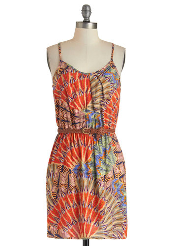 Just Fronds Dress - Mid-length, Orange, Multi, Print, Belted, Casual, Shift, Spaghetti Straps, Racerback, Summer