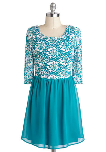 First Frost Dress - Blue, White, A-line, 3/4 Sleeve, Sheer, Short, Lace