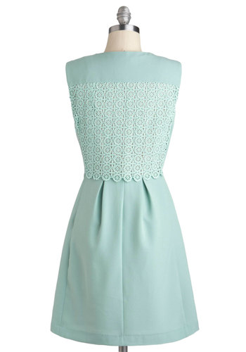 Landscape Architect Dress - Mid-length, Mint, Solid, Pastel, Sleeveless, V Neck, Party, Daytime Party, Graduation, Work