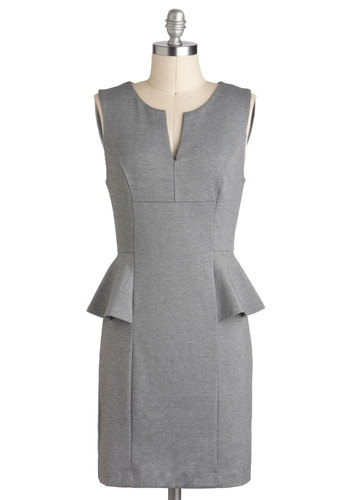 Going to Work It Dress - Short, Grey, Solid, Work, Peplum, Sleeveless, Minimal