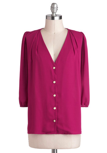 Moxie Lady Top in Magenta - Solid, Buttons, Work, 3/4 Sleeve, Mid-length, Pink, Variation