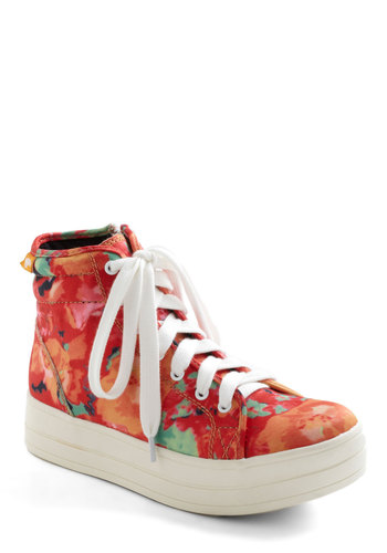 Fluorescence of Cool Sneaker - Multi, Floral, Wedge, Lace Up, Low, 90s