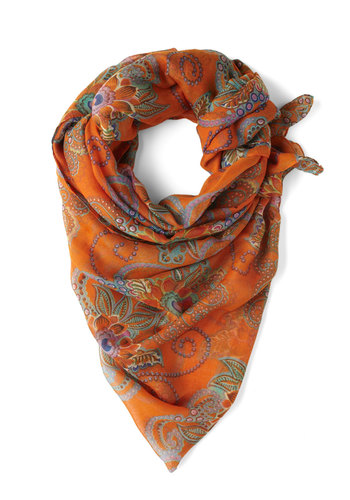 At First Elegance Scarf - Orange, Multi, Floral, Sheer, Casual, Vintage Inspired, 60s