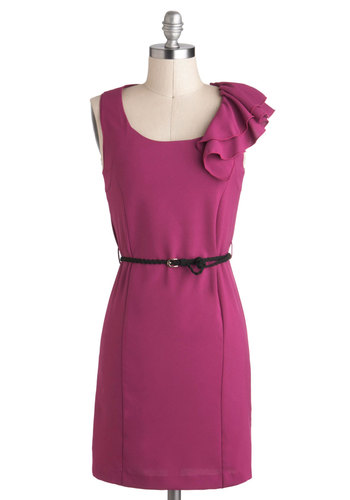 Moxie in Magenta Dress - Pink, Solid, Ruffles, Belted, Work, Sheath / Shift, Mid-length, Sleeveless