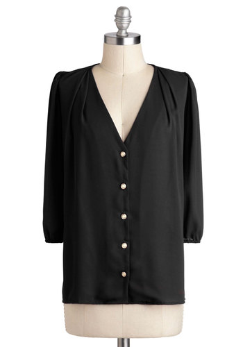 Moxie Lady Top in Noir - Sheer, Mid-length, Black, Solid, Buttons, Work, 3/4 Sleeve, V Neck, Casual, Vintage Inspired, Variation