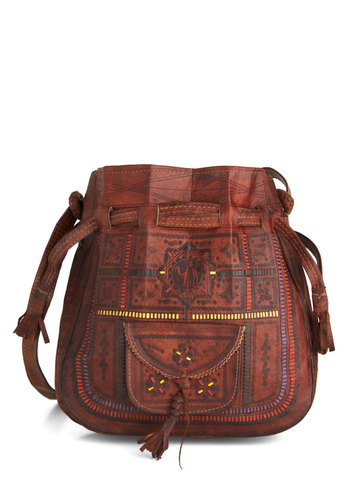 Open Air Market Bag - Brown, Multi, Solid, Print, Tassels, Boho, 70s, Leather