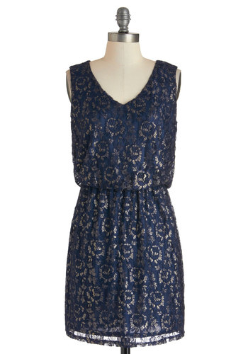 Glimmer Party Dress - Short, Blue, Silver, Exposed zipper, Lace, Party, Holiday Party, Sleeveless, V Neck, 20s