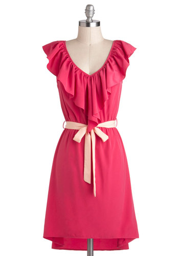Great Minds Pink Alike Dress - Mid-length, Pink, Ruffles, Belted, A-line, V Neck, Daytime Party