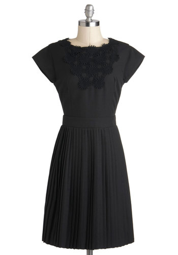 Femme And Fortune Dress - Mid-length, Black, Solid, Exposed zipper, Pleats, Cocktail, A-line, Cap Sleeves, Vintage Inspired, 50s