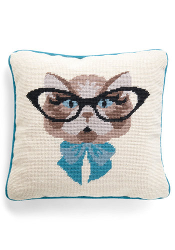 Cat Eyeglasses Pillow by Louche - International Designer, Multi, Blue, Print with Animals, Quirky, Novelty Print
