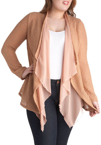 500 Days of Gossamer Cardigan in Plus Size - Pink, Solid, Long Sleeve, Casual, Fall, Spring