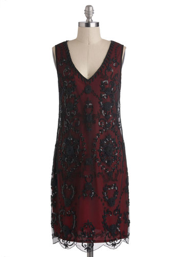 Bead It Dress in Garnet - Black, Beads, Sequins, Sleeveless, Winter, Mid-length, Red, Party, Cocktail, Vintage Inspired, 20s, Shift, V Neck, Holiday Party