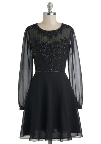 Before Nightfall Dress - Black, Solid, Beads, Sequins, Holiday Party, A-line, Long Sleeve, Winter, Mid-length, Party, Film Noir, Luxe