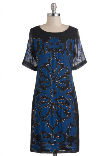 Damask You Wish Dress - Black, Blue, Print, Holiday Party, Sack, Short Sleeves, Bronze, Sequins, Party, 20s, Mid-length