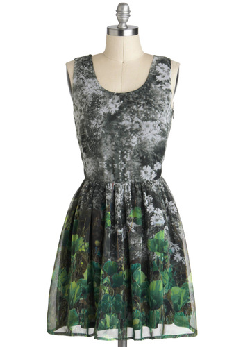 Haute Here in the Field Dress - Multi, Print, Casual, A-line, Grey, Green, Sleeveless, Novelty Print, Short