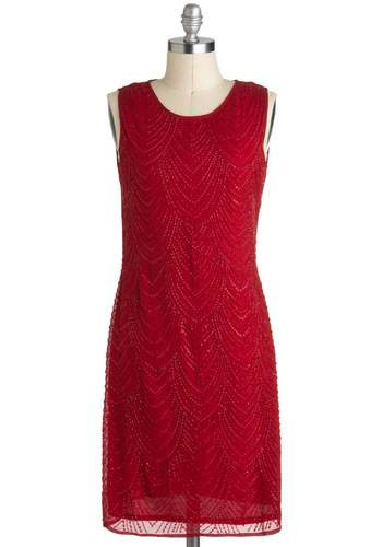 Garnet Attention Dress - Red, Beads, Holiday Party, Sheath / Shift, Sleeveless, Solid, Party, 20s, Sheer, Mid-length
