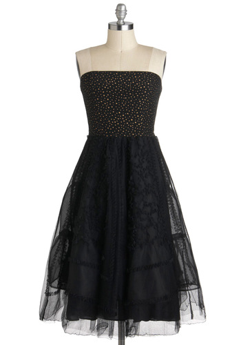 In the Frill of the Night Dress by Corey Lynn Calter - Black, Ruffles, Strapless, Long, Gold, Formal, Cocktail, A-line, Ballerina / Tutu, Luxe, Prom, Tiered