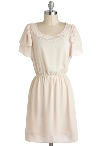 Seashell I Compare Thee Dress - Mid-length, Cream, Solid, Pleats, Tiered, Trim, Casual, A-line, Short Sleeves, Graduation