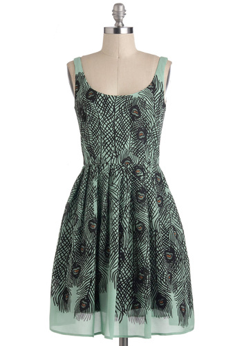 Delightful as a Feather Dress by Corey Lynn Calter - Mid-length, Mint, Black, Animal Print, Pockets, A-line, Sleeveless, Scoop, Party