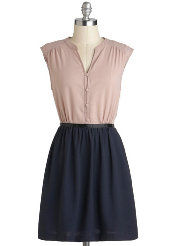 Countryside Mile Dress - Short, Blue, Pink, Buttons, Casual, Twofer, Cap Sleeves