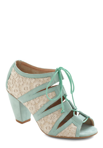 Up to Parlour Heel - White, Solid, Lace, Lace Up, Mint, Pastel, Leather, Mid