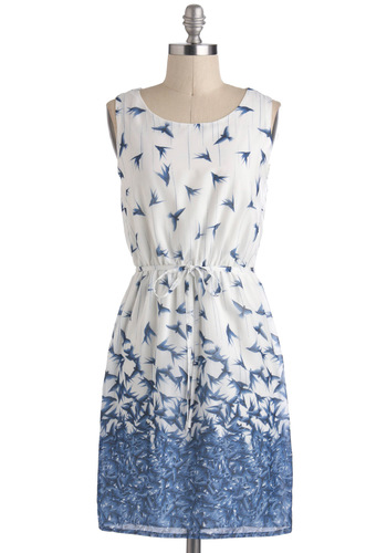 Avian Skies Dress - Print with Animals, Mid-length, White, Blue, Belted, Casual, A-line, Sleeveless
