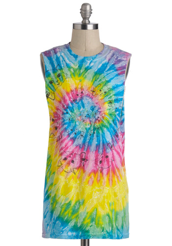 Kitten With You Top - Cotton, Long, Multi, Yellow, Green, Blue, Pink, Tie Dye, Casual, Summer, Travel, Cats, Tank top (2 thick straps)
