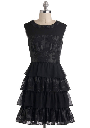 Material Twirl Dress - Sheer, Black, Solid, Ruffles, Tiered, Party, A-line, Film Noir, Luxe, Prom, Mid-length