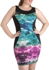 Sunset the Bar Dress - Plus Size - Multi, Tie Dye, Girls Night Out, Sheath / Shift, Sleeveless, Green, Blue, Purple, Black, Novelty Print, Party