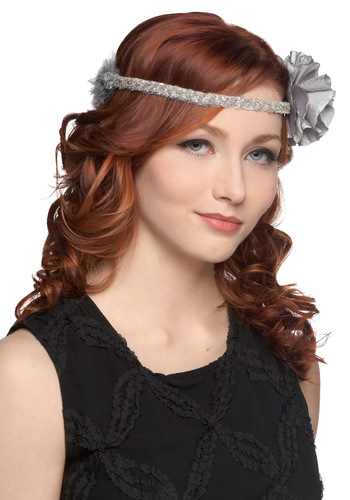 I've Got a Twinkling Headband - Grey, Beads, Flower, Party, Holiday Party, Statement, Feathers, Fairytale, 20s