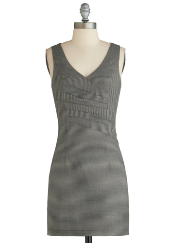 Biz Is It Dress - Short, Black, Houndstooth, Work, Shift, Sleeveless, V Neck, White, Pleats, Exclusives
