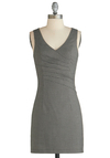 Biz Is It Dress - Short, Black, Houndstooth, Work, Sheath / Shift, Sleeveless, V Neck, White, Pleats, Exclusives