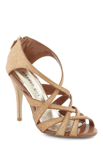 Lustery Day Heel by Steve Madden - Gold, Solid, Formal, Prom, Wedding, Party, Glitter, High, Cocktail, Girls Night Out, Strappy, Holiday Party, Film Noir, Graduation