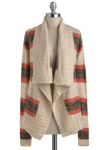 Romancing the Scone Cardigan in Oatmeal - Cream, Orange, Brown, Stripes, Casual, Long Sleeve, Rustic, Winter, Mid-length