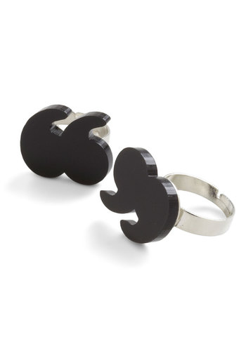 Air Quote Yourself Rings by Tatty Devine - Black, Solid, Quirky